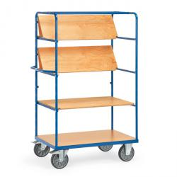 Shelf trolley - with 3 foldable shelves -2 wire mesh walls