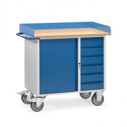 Workshop trolley with 1 cupboard and 4 drawers - worktop with raised