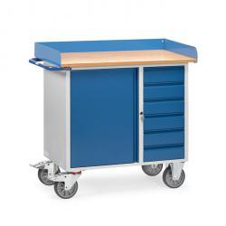 Wózki warsztatowe z 1 szafką i 4 szufladami - blat z podniesionymi