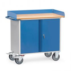 Steel workshop trolley - with 1 two-door cabinet - worktop with raised