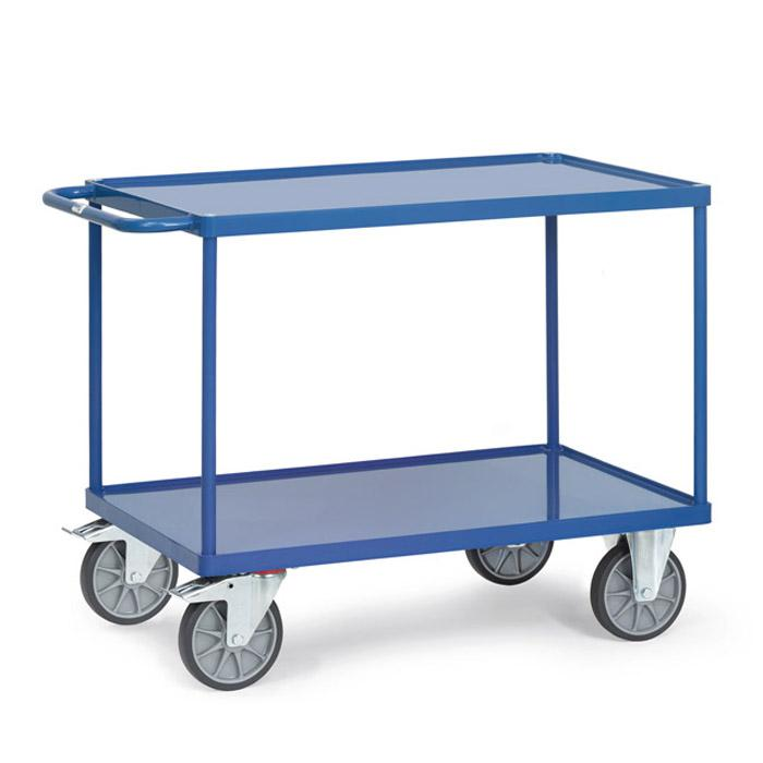 Table trolley - with 2 shelves made of sheet steel - with 10 mm high edge