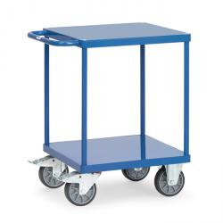 Table trolley - with square loading area - with 2 shelves made of sheet steel - flush with frame