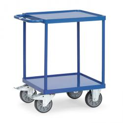 Table trolley - with square loading area - with 2 shelves made of sheet steel - with 10 mm high edge