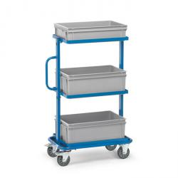 Trolley - with an open frame and 3 plastic boxes