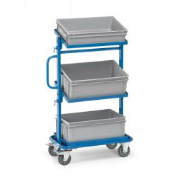 Trolley - tiltable loading surfaces - open frame and 3 plastic boxes