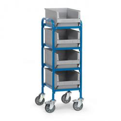 Trolley - 4 shelves made of wood - length 320 mm - with 4 Storage bin