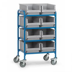 Trolley - 4 shelves made of wood - length 630 mm - with 2x4 fronted storage bins