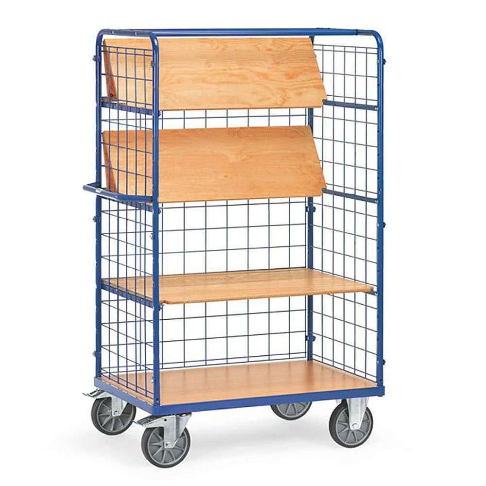 Shelf Trolley - 3 foldable shelves - 3 wire mesh walls - 600 kg