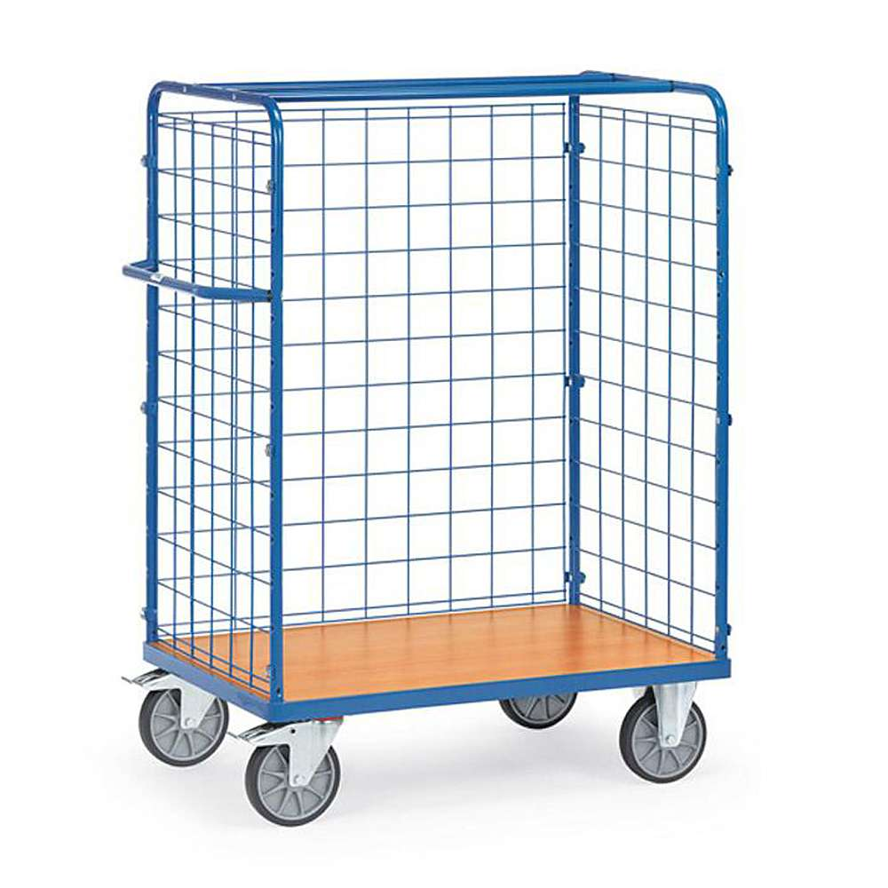 Package car - 3 wire mesh walls - height 1500 mm - 600 kg
