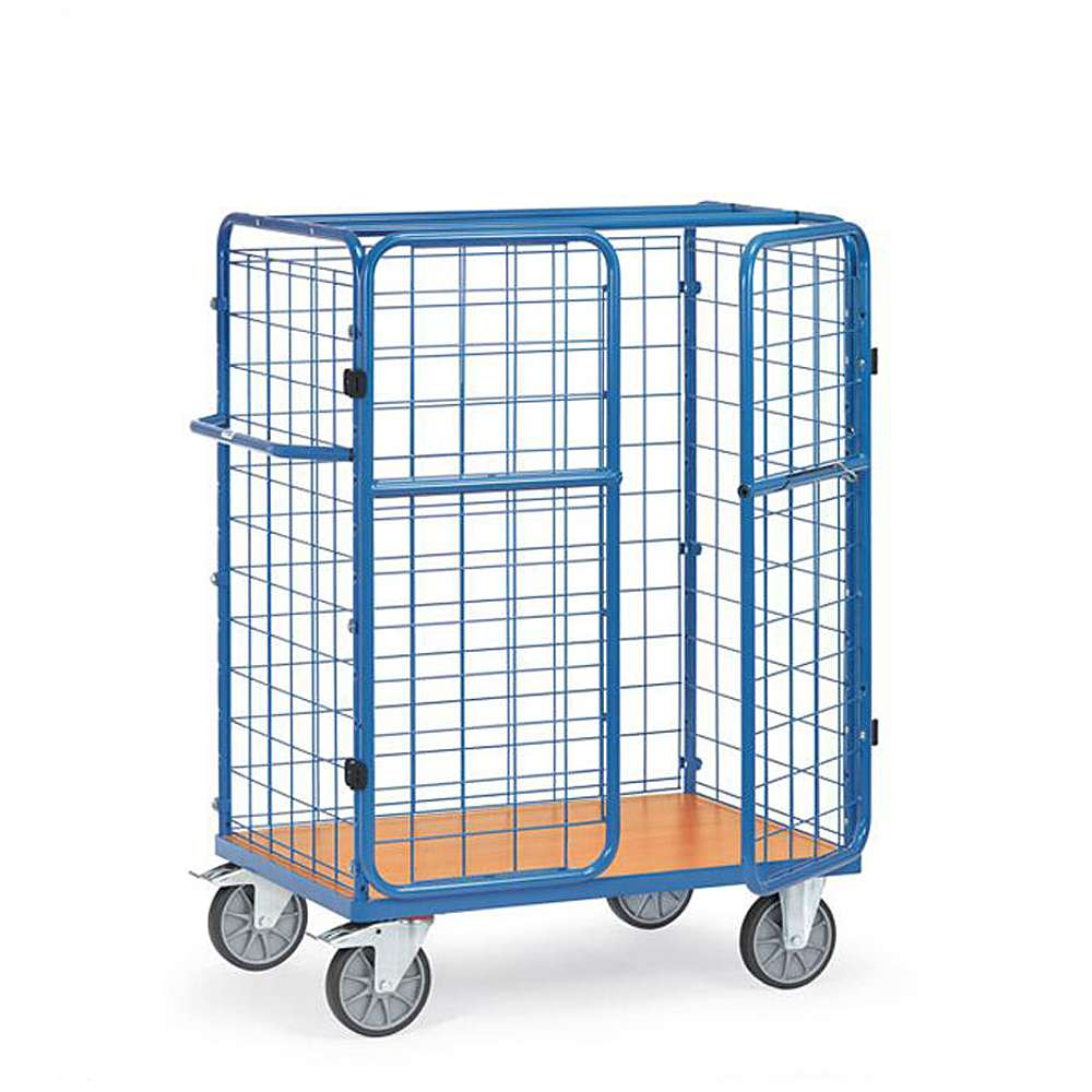 Package car - 3 wire mesh panels - double doors