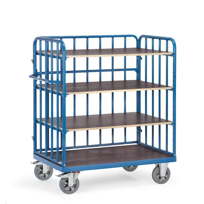 Accantonato trolley - 1200 kg - con 4 piani di legno - con puntoni