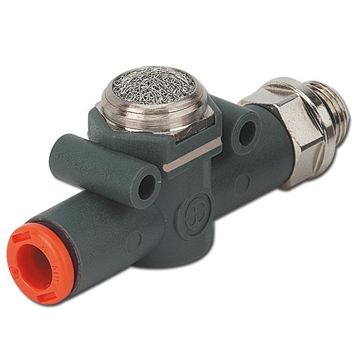 In-Line Schnellentlüftungsventil - Reihe VSR L - Schlauch-Gewinde Anschluss mit Schalldämpfer