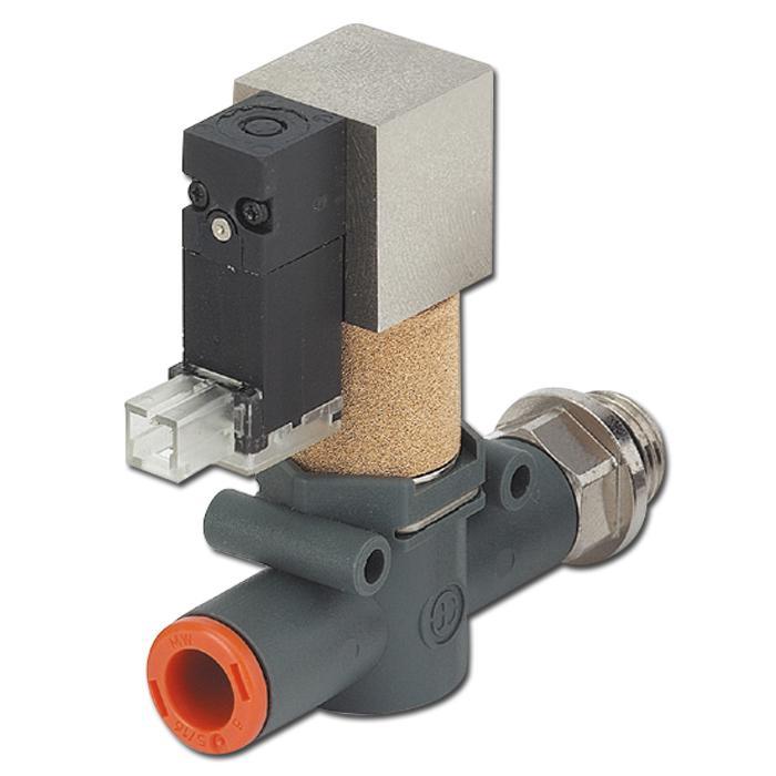 Magnetventil - 3/2-vägs - styrd avluftning - slang på gänga - In-Line