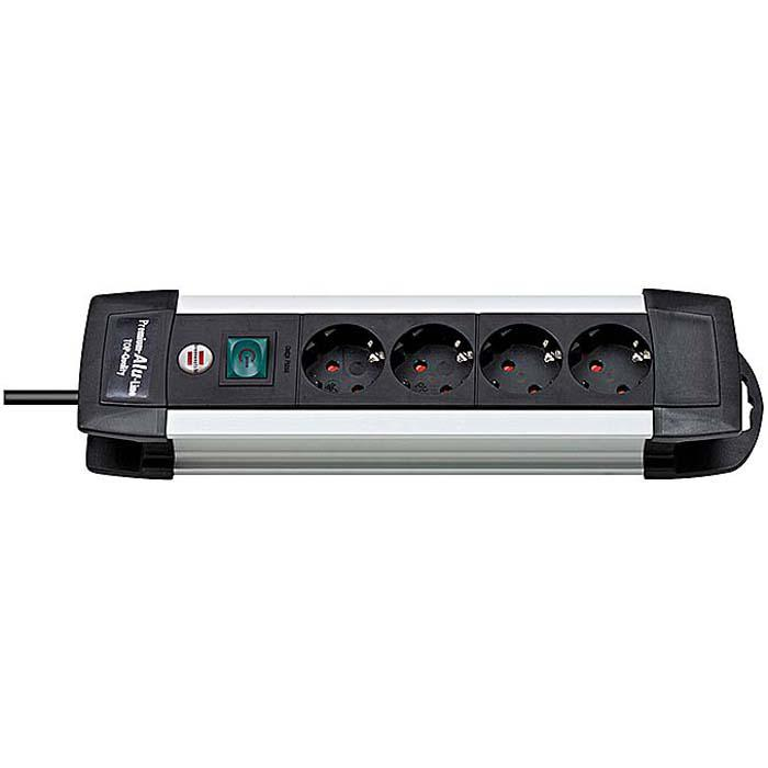 Premium-Alu-Line Steckdosenleiste - H05VV-F3G1,5  - mit Schalter