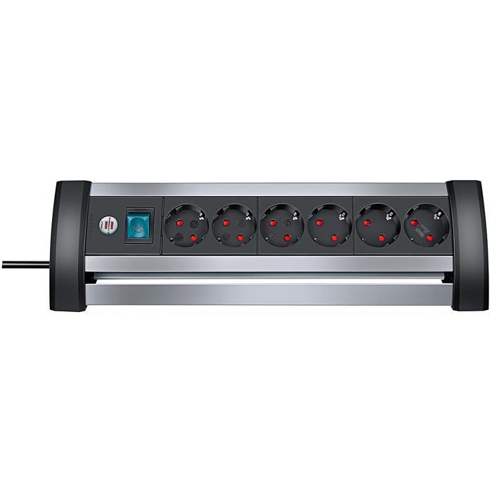Alu-Office-Line Steckdosenleiste - H05VV-F3G1,5 - mit Schalter