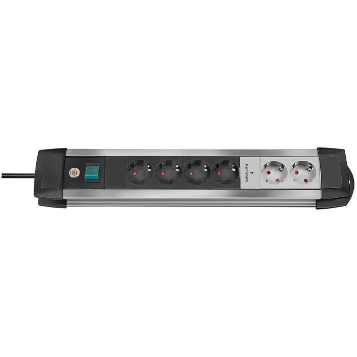 Premium-Alu-Line Technik Steckdosenleiste - H05VV-F3G1,5  - 3 m Kabel