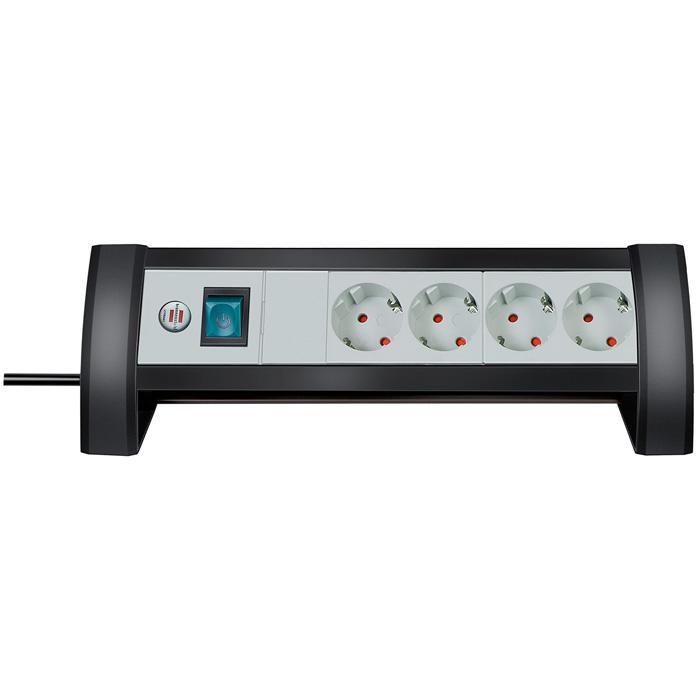 Premium-Office-Line Steckdosenleiste - H05VV-F3G1,5 - mit Schalter - schwarz/lichtgrau
