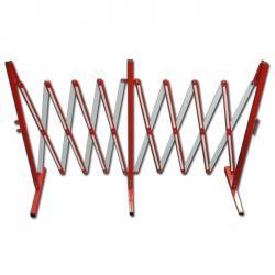 Harmonijkowe - czerwony i biały - stal - do 4 m przedłużenia - wysokość 1 m