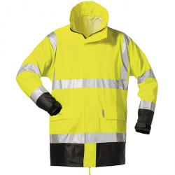 "NORWAY PU Stretch Rain Jacket ""Manfred"" - color fluorescent yellow / black - Sizes S - XXXL"