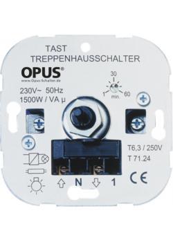 Tast-Treppenhaus-Schalter - 230V 1.500 VA, 50Hz - 1-60 min., Schraubklemmen, N-Leiter erforderlich
