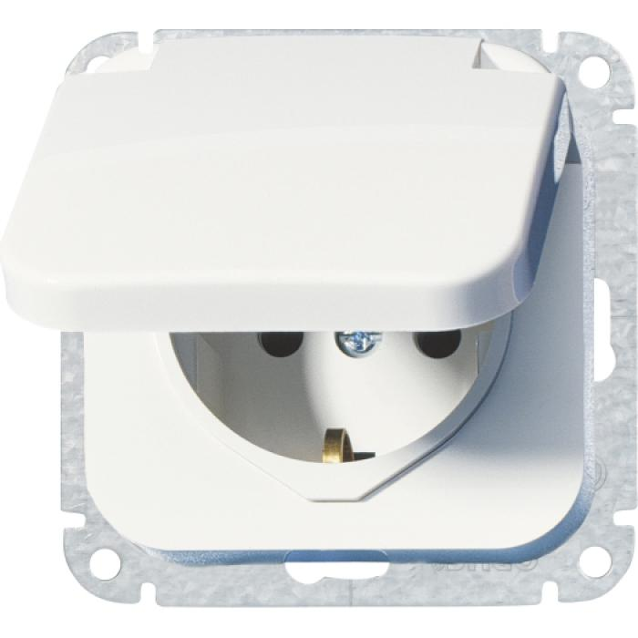 Schutzkontaktsteckdose Opus 1 - mit Klappdeckel und Feder - 250 V AC, 50 Hz, 16 A