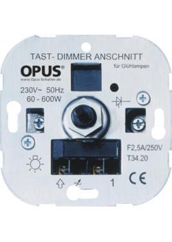 Tast-Glühlampen-Dimmer - mit Memoryfunktion - mit Schraubklemmen - 230 V AC, 50 Hz