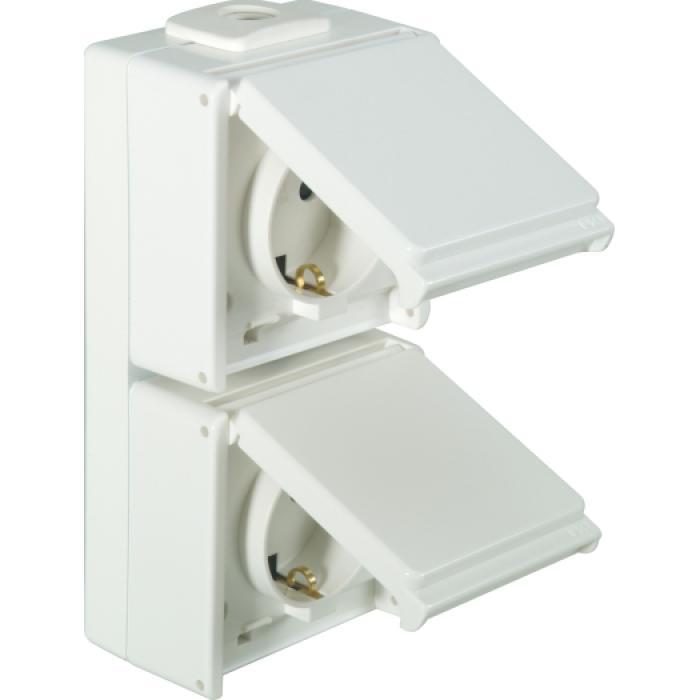 Schutzkontakt-Steckdose - 2-fach - senkrecht - IP54