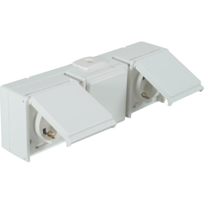 Schutzkontaktsteckdose - 3-fach - waagerecht - IP54