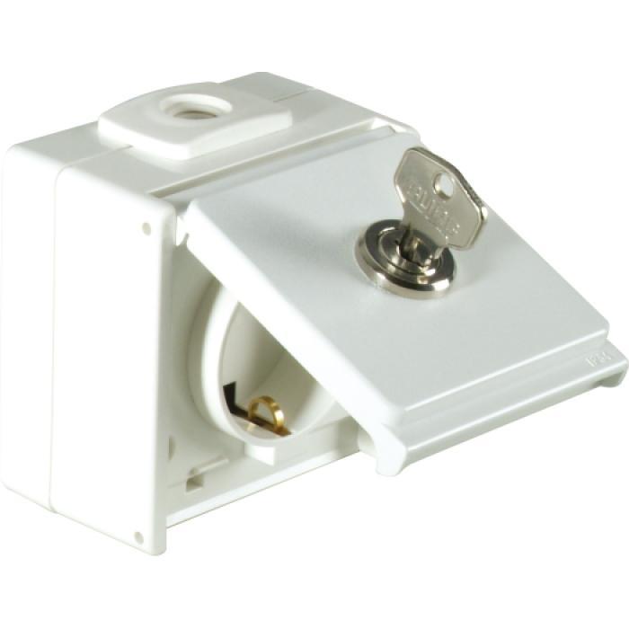 Schutzkontaktsteckdose - 1-fach - IP54 - mit Schloss - 250 V AC, 50 Hz, 10/16 A
