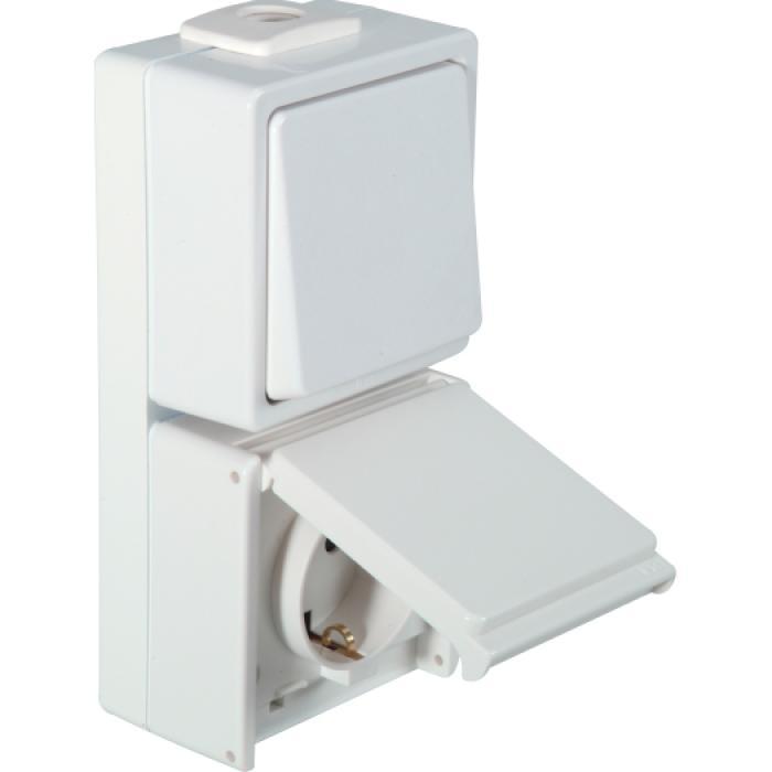 Wechselschalter/Steckdose - IP54 - senkrecht - 250 V AC - 10 / 16 A