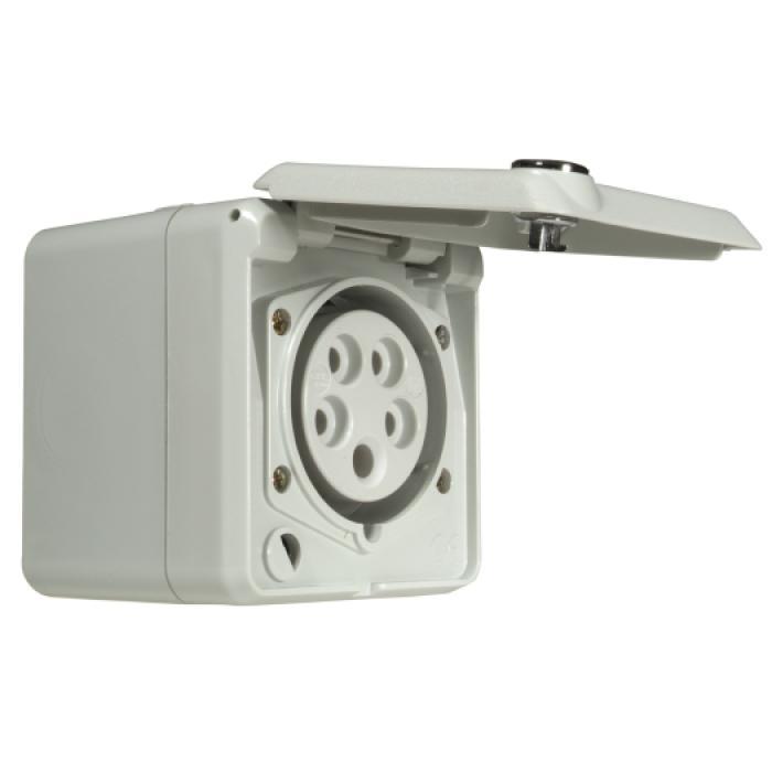 AP Steckdose 230/400 V - IP 44 - inkl. Schloss - Farbe hellgrau