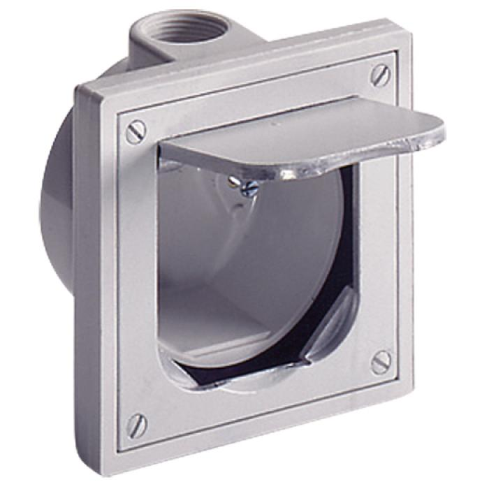 Fußboden-Einbausteckdose - mit Klappdeckel - Farbe grau - Alu-Druckguss