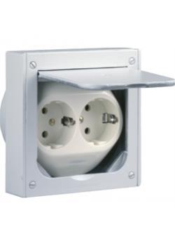 Schutzkontakt-Einbausteckdose - komplett - 2-fach - 112 x 112 x 33 / 60 mm