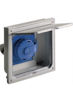 Schutzkontakt-Einbausteckdose - 1-fach - mit Klappdeckel - Alu-Druckguss