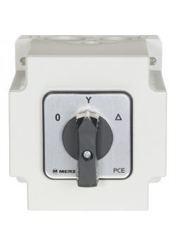 Aufputz Stern-Dreieck-Schalter - 25 A - IP 65 - 400 V / 7,5 kW - Farbe grau/schwarz