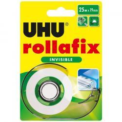 UHU rollafix - lösemittelfrei - Abroller + 1 Nachfüllrolle, 25 m x 19 mm, beschriftbar