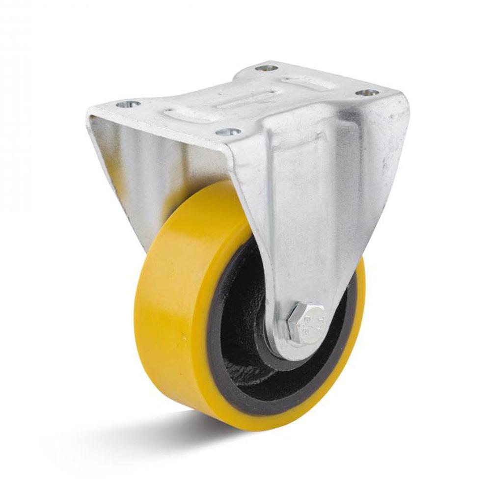 Schwerlast-Bockrolle - Polyurethanrad - Rad-Ø 80 bis 125 mm - Bauhöhe 120,5 bis 165 mm - Tragkraft 250 bis 350 kg