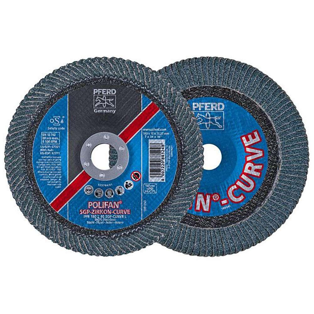 Fächerschleifscheibe - PFERD POLIFAN® - für INOX/Stahl - radiale Ausführung ZIRKON - Preis per Stück