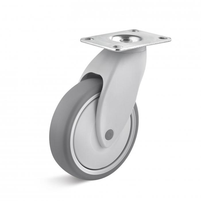 Apparate-Lenkrolle - Thermoplastrad - Rad-Ø 100 bis 125 mm - Bauhöhe 140 bis 166 mm - Tragkraft 100 kg