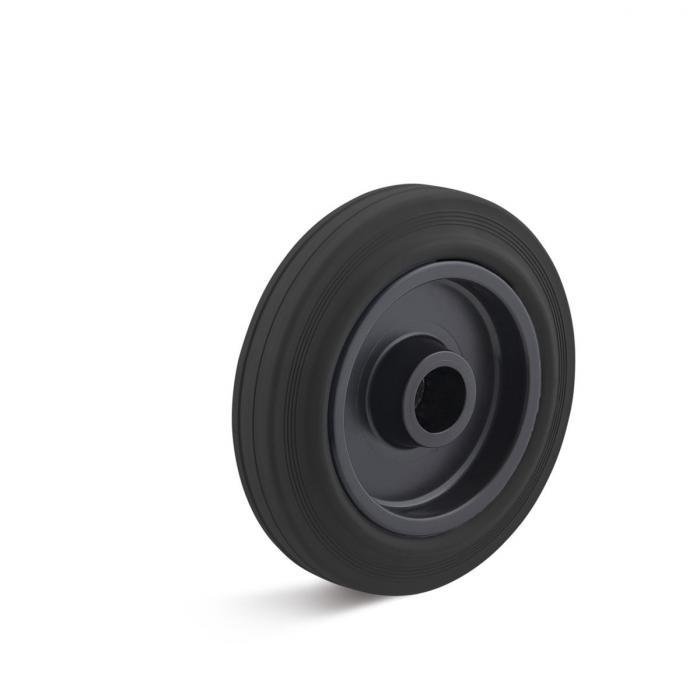Thermoplastrad für Apparaterollen - mit Rollenlager - Rad-Ø 80 bis 400 mm - Tragkraft 50 bis 400 kg - schwarz