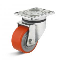 Polyuretan Castor - 100 mm - 450 kg lastkapacitet - orange - Hjuldiameter 100 mm