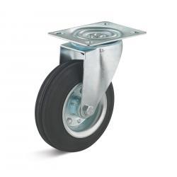 Fast gummi länkhjul - hjul Ø 125 mm - med plåtfälg