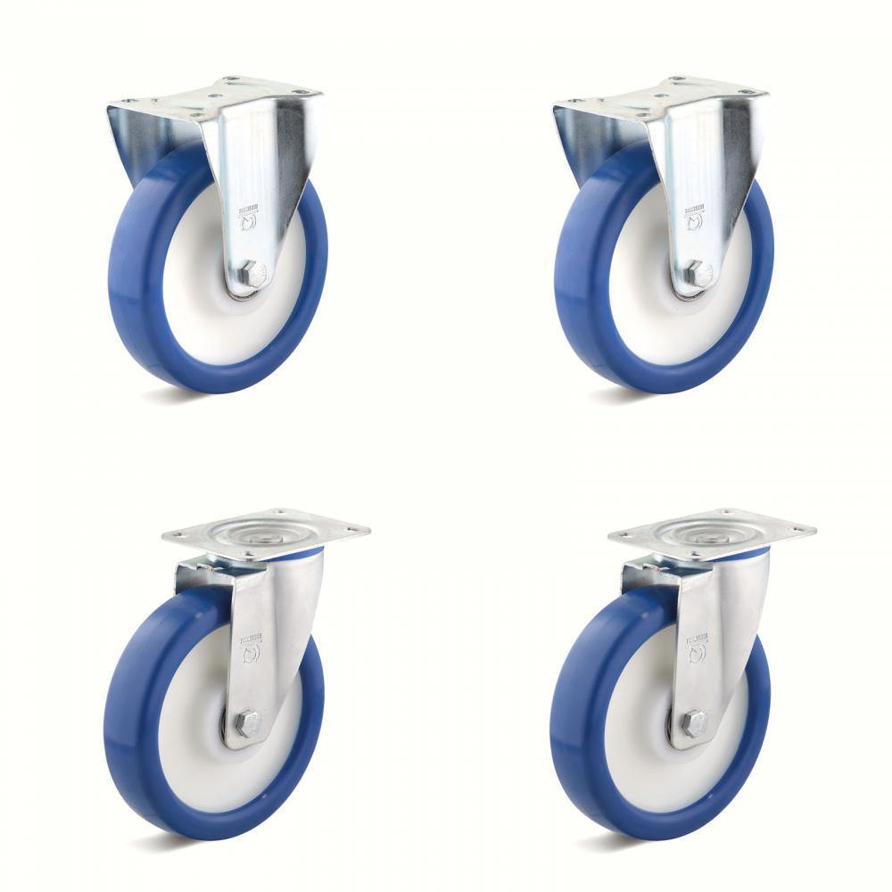Tunga hjul - 2 hjul och 2 fasta hjul - Kapacitet 450 till 1200 kg per set