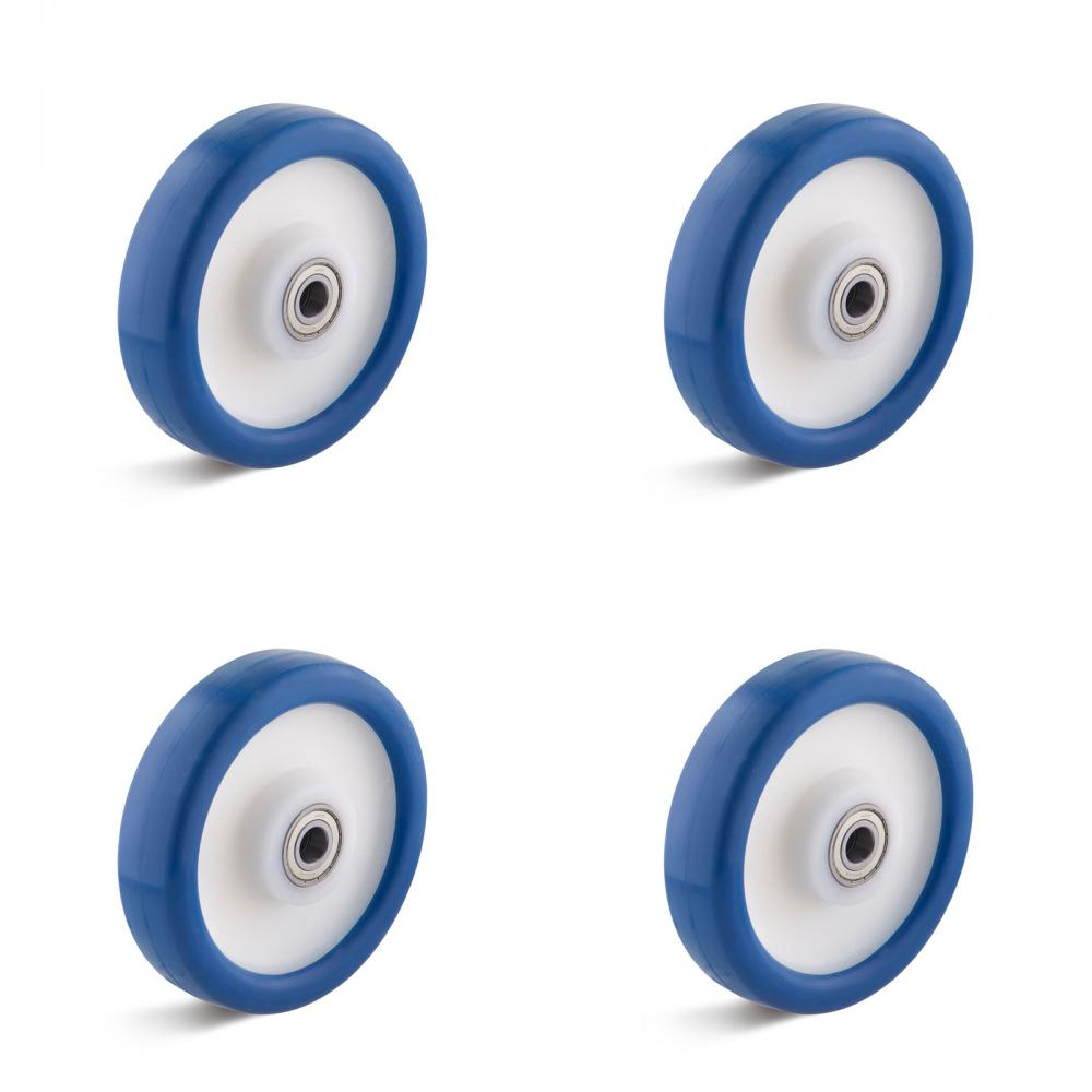 Set of wheels - 4 wheels - ball bearing - load capacity per set 450 to 2100 kg