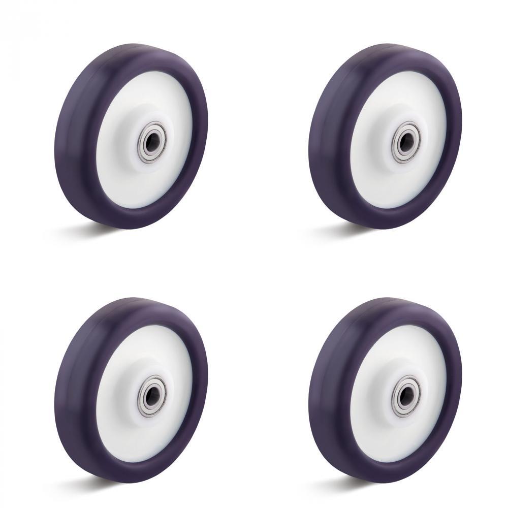 Elastik-Polyurethanräder - 4 Stück - 2 Kugellager - Rad-Ø 80 bis 200 mm - Tragkraft/Set 390 bis 1050 kg