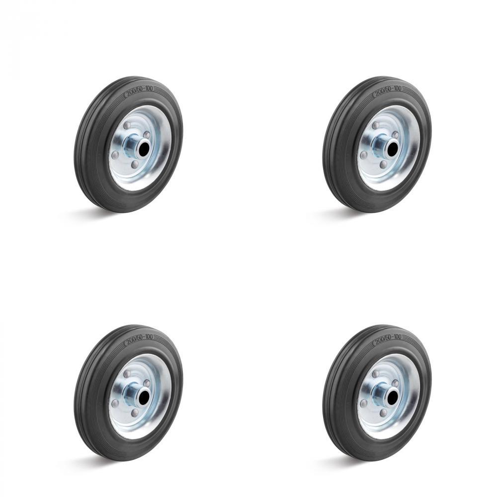 Hjulsats - 4 x solid gummihjul med stålfälg - Kapacitet upp till 1155 kg
