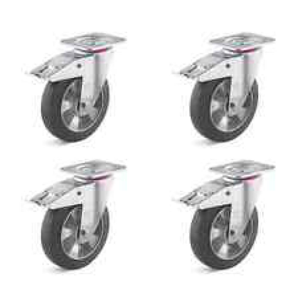 Svänghjulssats - 4 kraftiga svänghjul med dubbelstopp elastiskt solid gummihjul - total bärkraft upp till 1200 kg