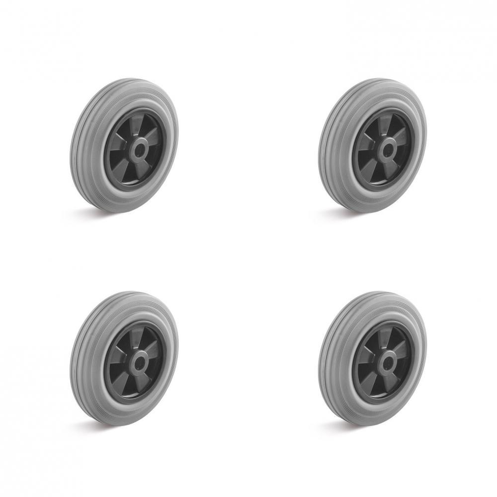 Räderset - 4 Vollgummiräder - Rollenlager - Rad-Ø 160 bis 200 mm - Tragkraft/Set 405 bis 615 kg