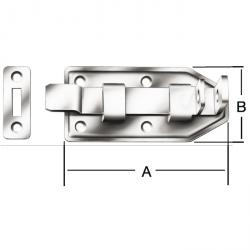 Porte pêne - coudé - galvanisé - avec plaque de verrouillage