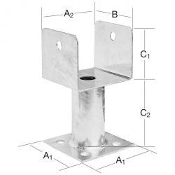 Stützenschuh - Stahl - aufschraubbar - feuerverzinkt - mit Rohrdolle - Preis per VE